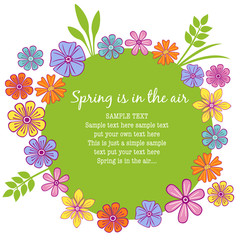 Floral frame with colorful petals and a springy feeling