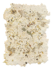 Handmade paper with leaves and flowers inside