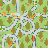 road in the woods seamless pattern