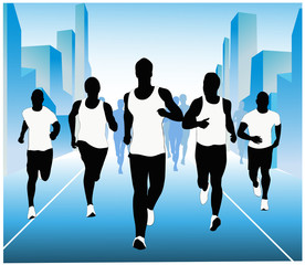 Jogging in the city. vector illustration