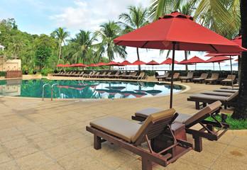 Tropical pool resort in Thailand