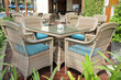 tables and chairs in stylish restaurant