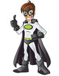 White Superhero Cartoon Showing His Thumb Up