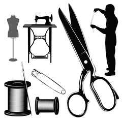 Vector illustration.Tailor's objects and equipment silhouettes