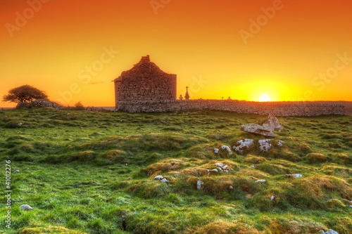 Ruins of old Irish chapel in Burren at sunrise - 41012276