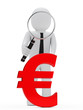 businessman magnifying glass euro