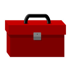 Red tool box isolated over white background