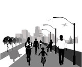 People walking Background illustration