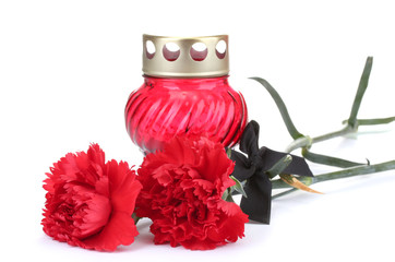 Memory lantern with candle,  carnations and black ribbon