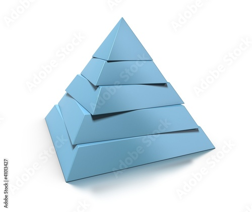 3d pyramid, five levels over white background