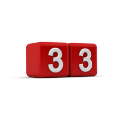 Red 3D block with number thirty three