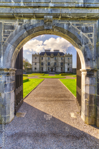 Portumna Castle view from the arch gate Co. Galway, Ireland