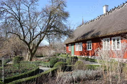 Old typical swedish house in Skansen, Stockholm, Sweden