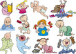 cartoon babies and children set