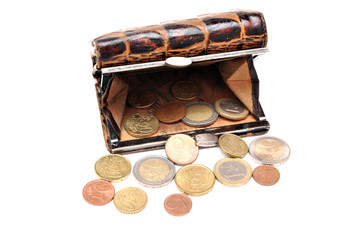 Purse with coins euro