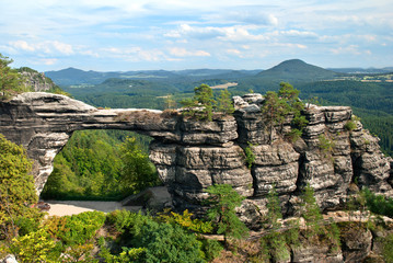 Pravcicka brana natural gate in the Czech-Saxon Switzerland