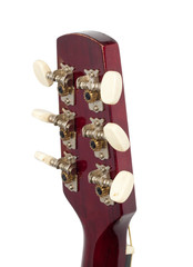Headstock of the guitar over white background