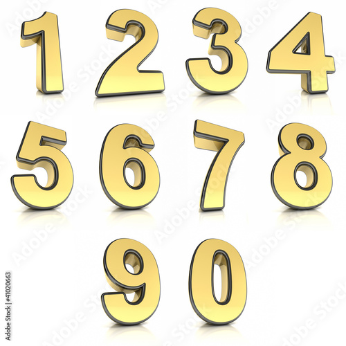 Metal numbers set over white background