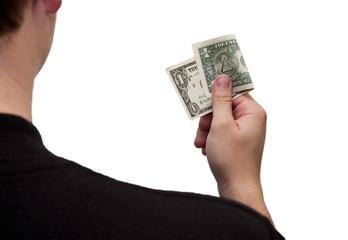One Dollar Bill in hand