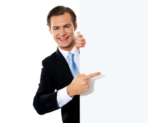 Business person pointing towards blank signboard