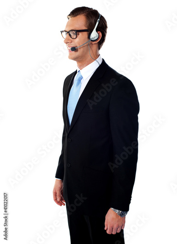 Handsome smiling help-desk male executive