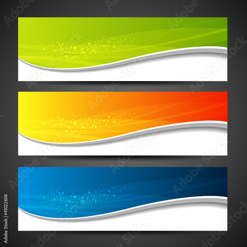 Banners modern wave design, colorful background. vector