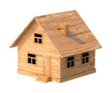 toy house made of plywood isolated on white poster