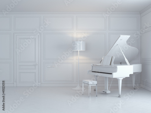 white piano in a white interior
