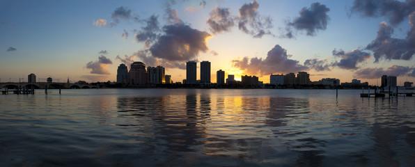 West Palm Beach, Florida, USA sunset over intercostal