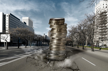 Pile of Euros falling down into the city: Economic and Financial
