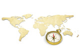 Map and Compass. Antique style.  Brass Compass.