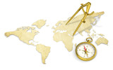Navigate. Antique style.  Brass Divider and Compass.