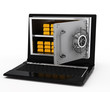 electronic money. notebook safe deposit box with open door