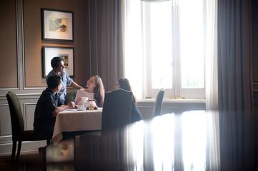 Friends having drinks in a restaurant