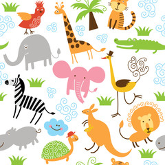 seamless pattern with cute animals © LenLis