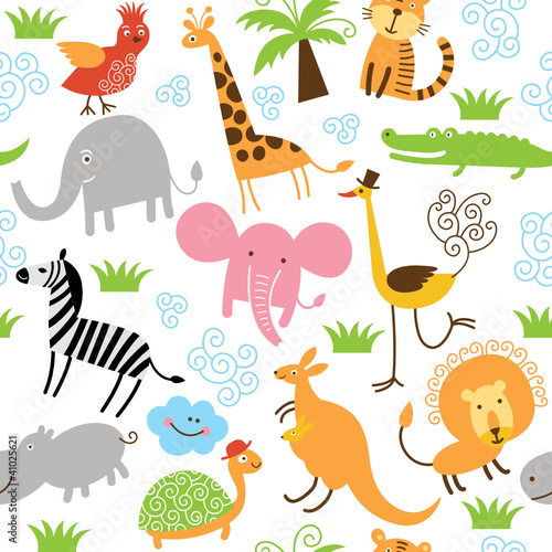 In de dag Zoo seamless pattern with cute animals