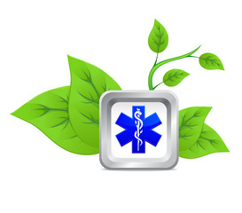 icon of medical caduceus symbol on a background of green plant