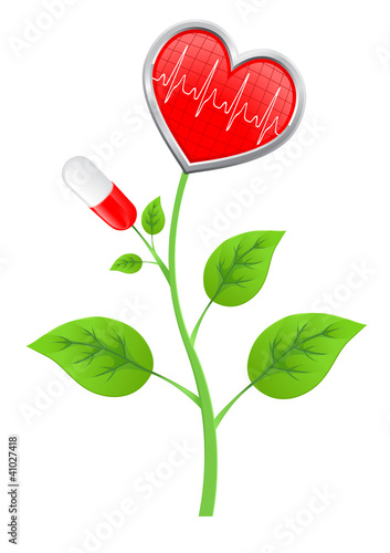 green stem with leaves, pills, and a heart-shaped diagram