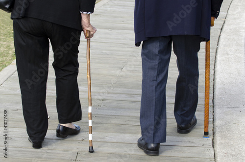 Concept Photo - Old People and Elderly Life - Walking Cane Stick