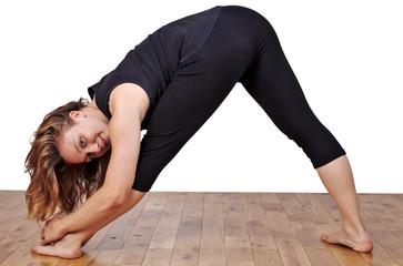 Flexible woman exercising