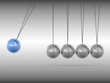 Newton cradle - blue sphere