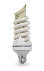 white lamp with dollars
