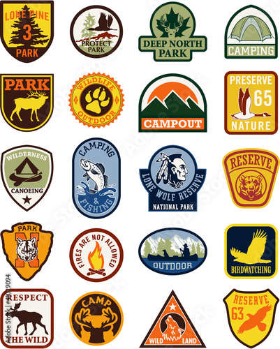Outdoor adventure vector patches