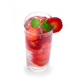 Strawberry cocktail over white background