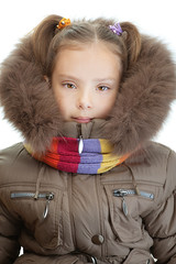 little girl closeup in warm winter jacket