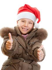 little girl closeup in warm winter jacket