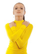 beautiful woman in yellow turtleneck