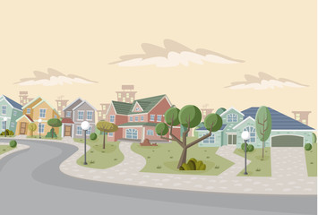 Colorful retro suburb neighborhood. Cartoon city.