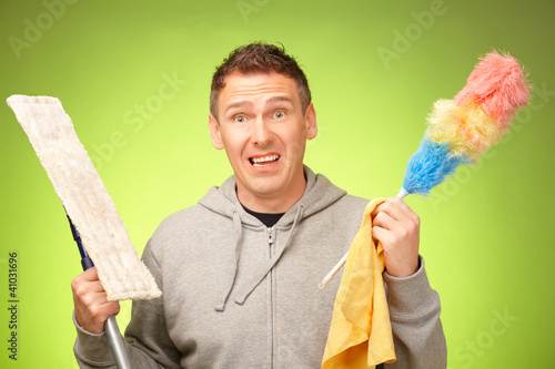 Man unhappy to clean the house