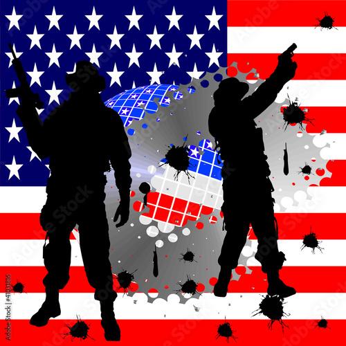 In de dag Militair Soldatensilhouetten vor amerikanischer Flagge
